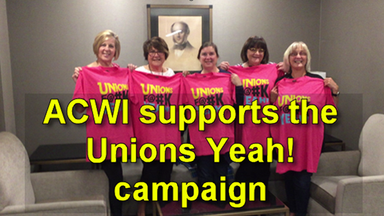 Members of the NUPGE Advisory Committee on Women's Issues (ACWI) show support for our Unions F@#k Yeah! campaign.